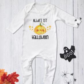 Personalised My First Halloween Friendly Pumpkin Stars Babygrow, Bodysuit, T Shirt