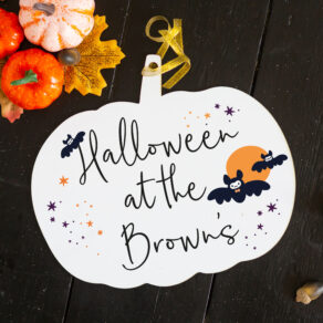 Personalised 'Halloween At The..' Hanging Pumpkin Sign