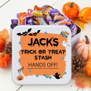 Personalised Halloween Trick or Treat Sweetie Tin