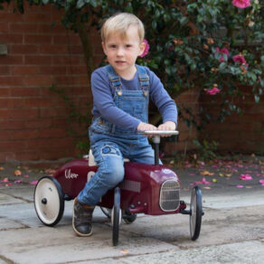 Personalised Metal Berry Red Classic Ride On Toy Car
