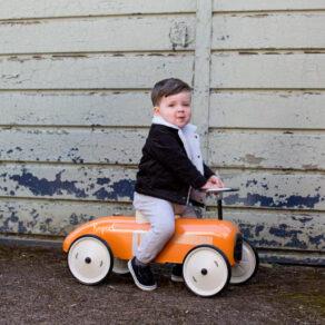 Personalised Metal Orange Classic Ride On Toy Car