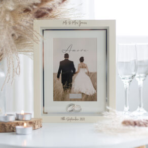 Personalised Wooden Wedding Photo Frame with Silver Rings