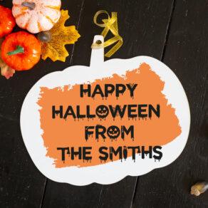 Personalised Halloween Pumpkin Hanging Sign