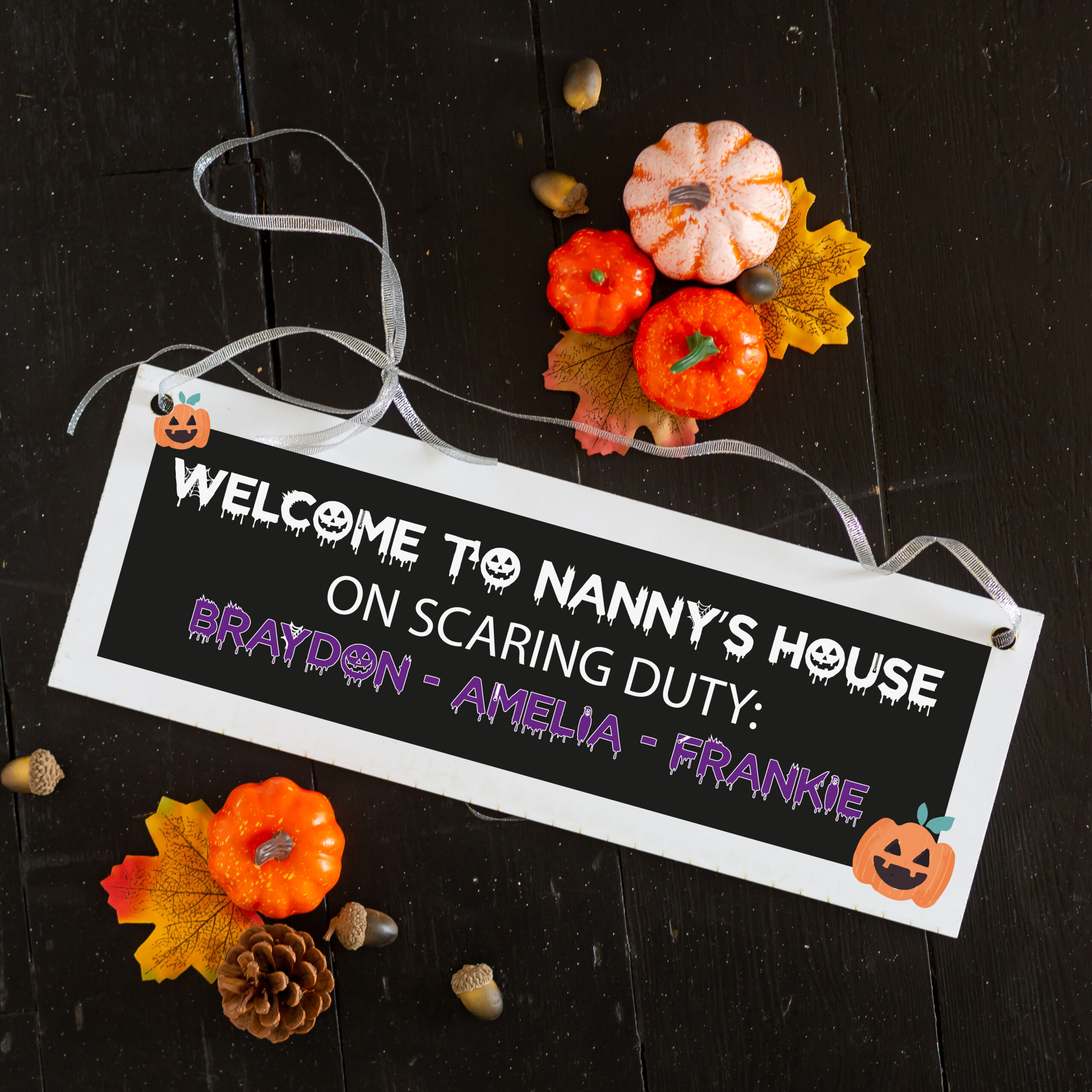 Personalised Scaring Duty Halloween Family Sign