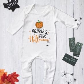 Personalised My First Halloween Pumpkin Babygrow, Bodysuit, T Shirt
