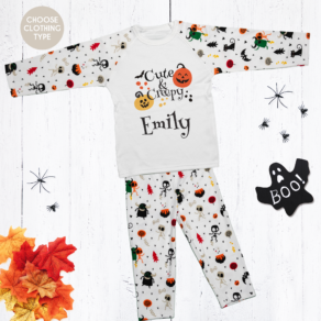 How adorable are these Personalised Cute & Creepy Halloween Pyjamas?! Featuring spooky skulls and a blood dripping personalised name for your little monster.