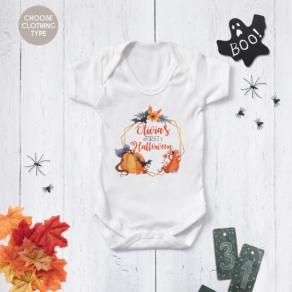Personalised My First Halloween Wreath Babygrow, Bodysuit, T Shirt