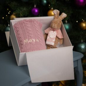 Toffee Moon Personalised Luxury Cable Baby Blanket and Signature Collection Flopsy Bunny Soft Toy