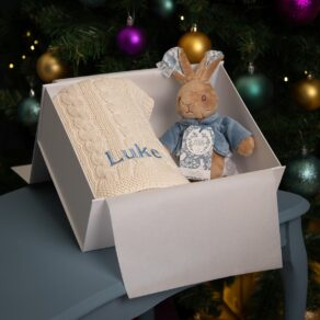 Toffee Moon Personalised Luxury Cable Baby Blanket and Signature Collection Peter Rabbit Soft Toy