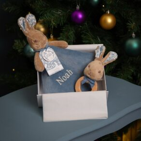 Peter Rabbit Signature Collection Personalised Baby Comfort Blanket and Wooden Rattle Gift Set