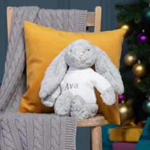 Personalised Jellycat Silver Bashful Bunny