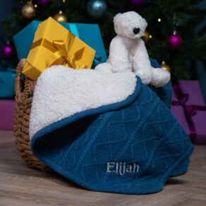 Ziggle Personalised Blue Sherpa Fleece Cable Baby Blanket and Jellycat Perry Polar Bear Gift Set