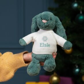 Personalised Jellycat Medium Bashful Bunny Soft Toy with 'Snowflake' Jumper