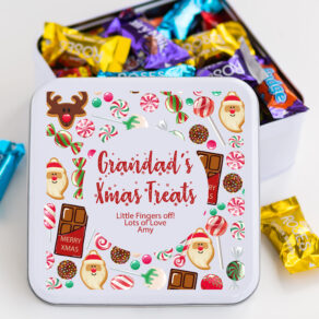 Personalised Metal Square Christmas Chocolate Sweet Biscuit Tin