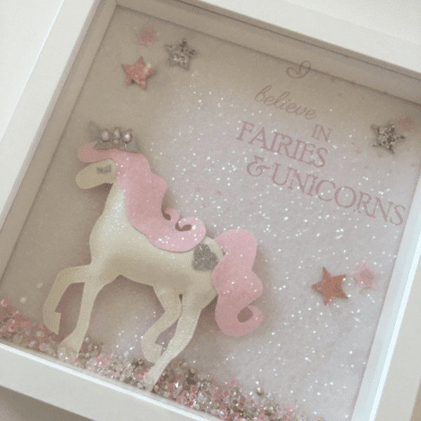 'I Believe in Fairies & Unicorns' Full Glitter Frame