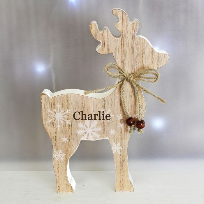 Any Name Rustic Wooden Reindeer Decoration Love Unique