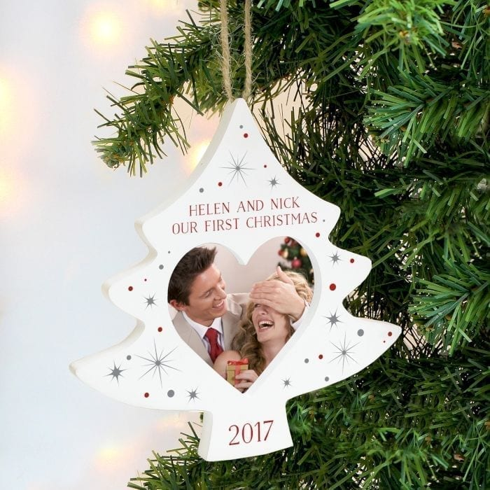 Personalised Christmas Tree Photo Frame Decoration | Love Unique ...