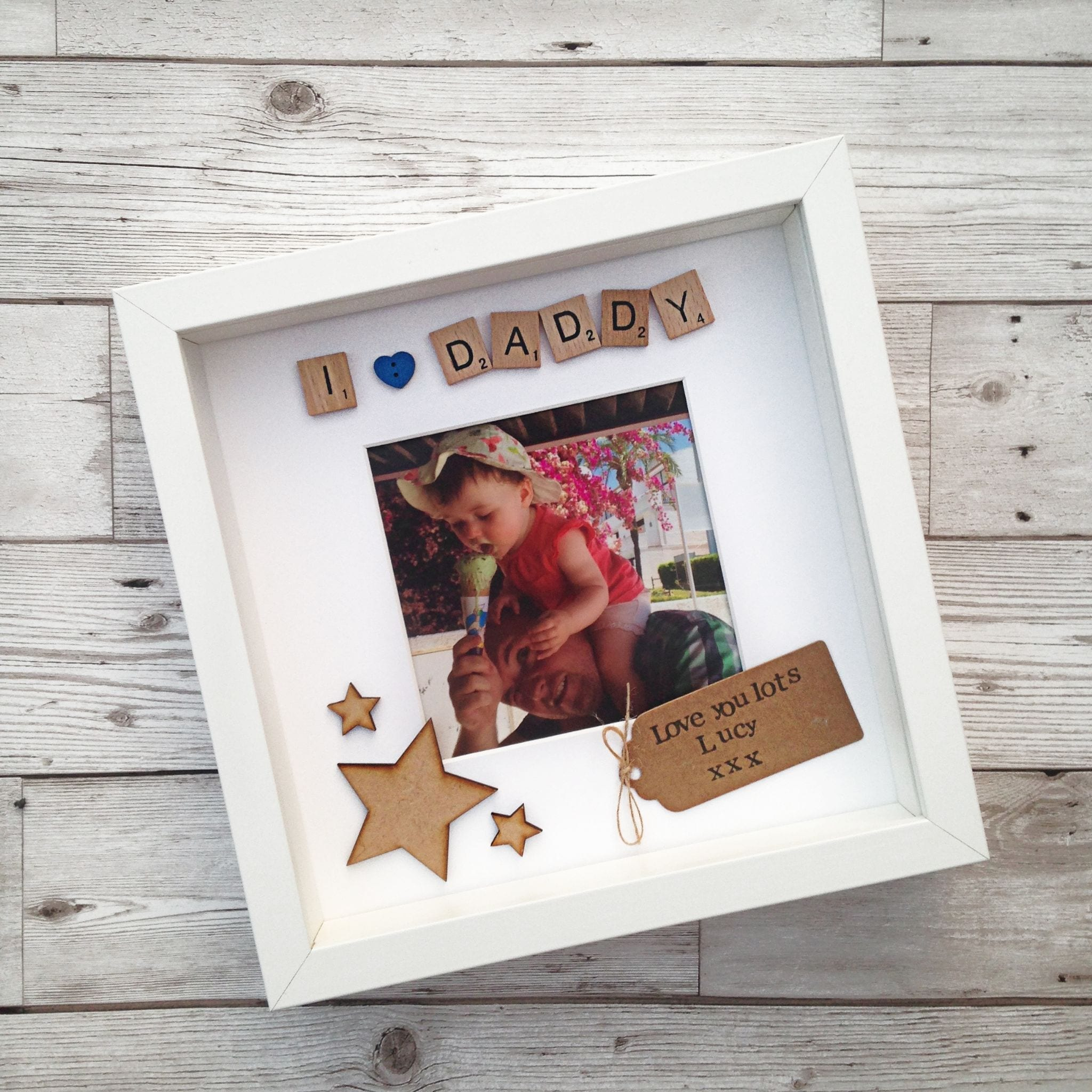 I Love (Heart) Daddy Personalised Scrabble Frame | Love Unique Personal