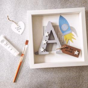 Wooden Letter Rocket Frame