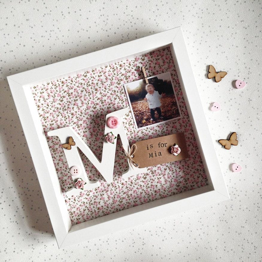 Wooden Letter Floral Frame With Photo