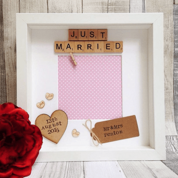 Just Married Scrabble Photo Frame
