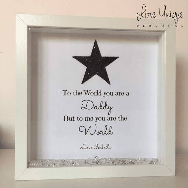 to the world you are a daddy personalised frame, glitter star