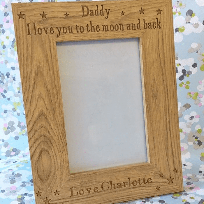 Grandad (Daddy) To The Moon & Back Oak Frame | Love Unique Personal