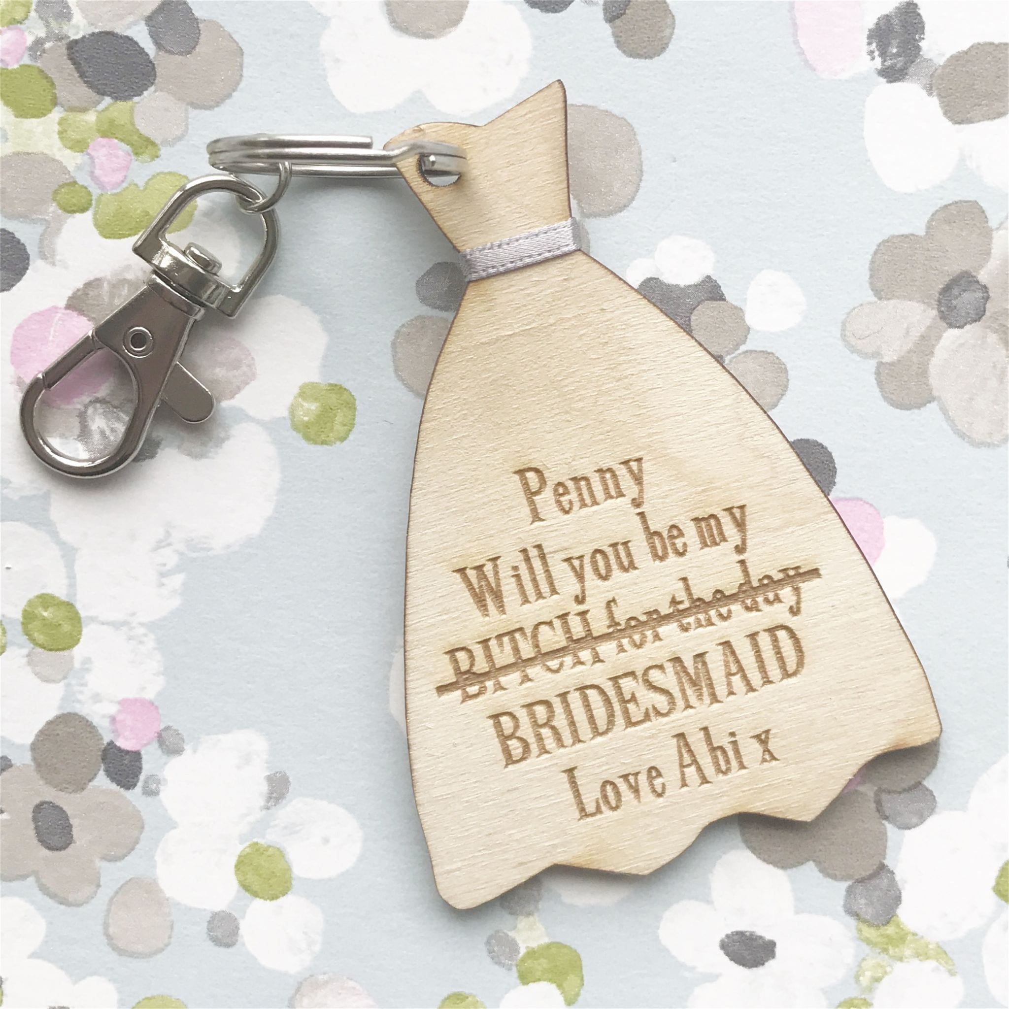 Will you be my bridesmaid personalised dress keyring or magnet