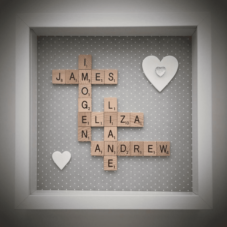 Wooden Tile Scrabble Frame