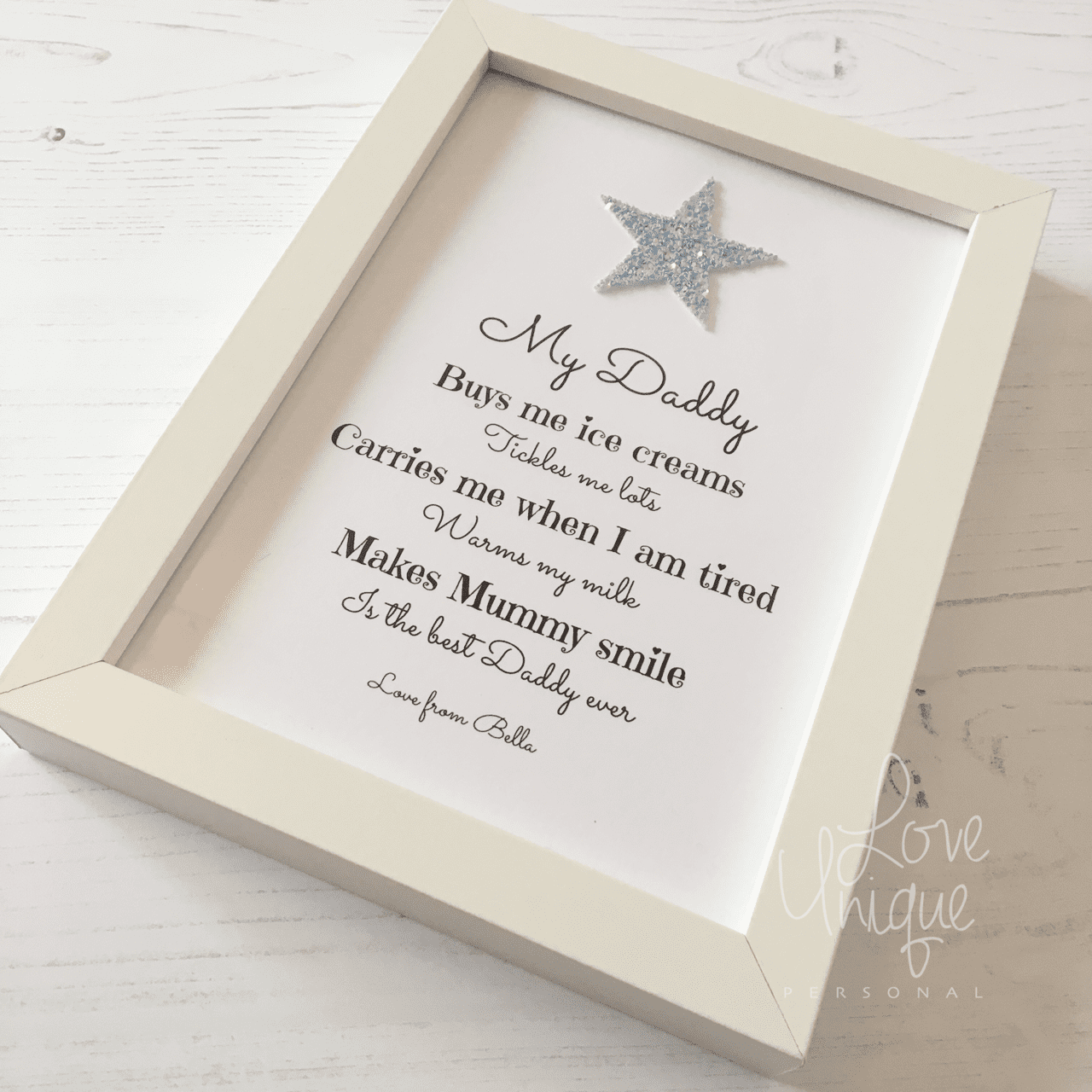 My Dad / Daddy Personalised Verse Frame | Love Unique Personal