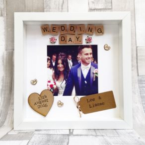 Personalised Wedding Day Photo Scrabble Frame