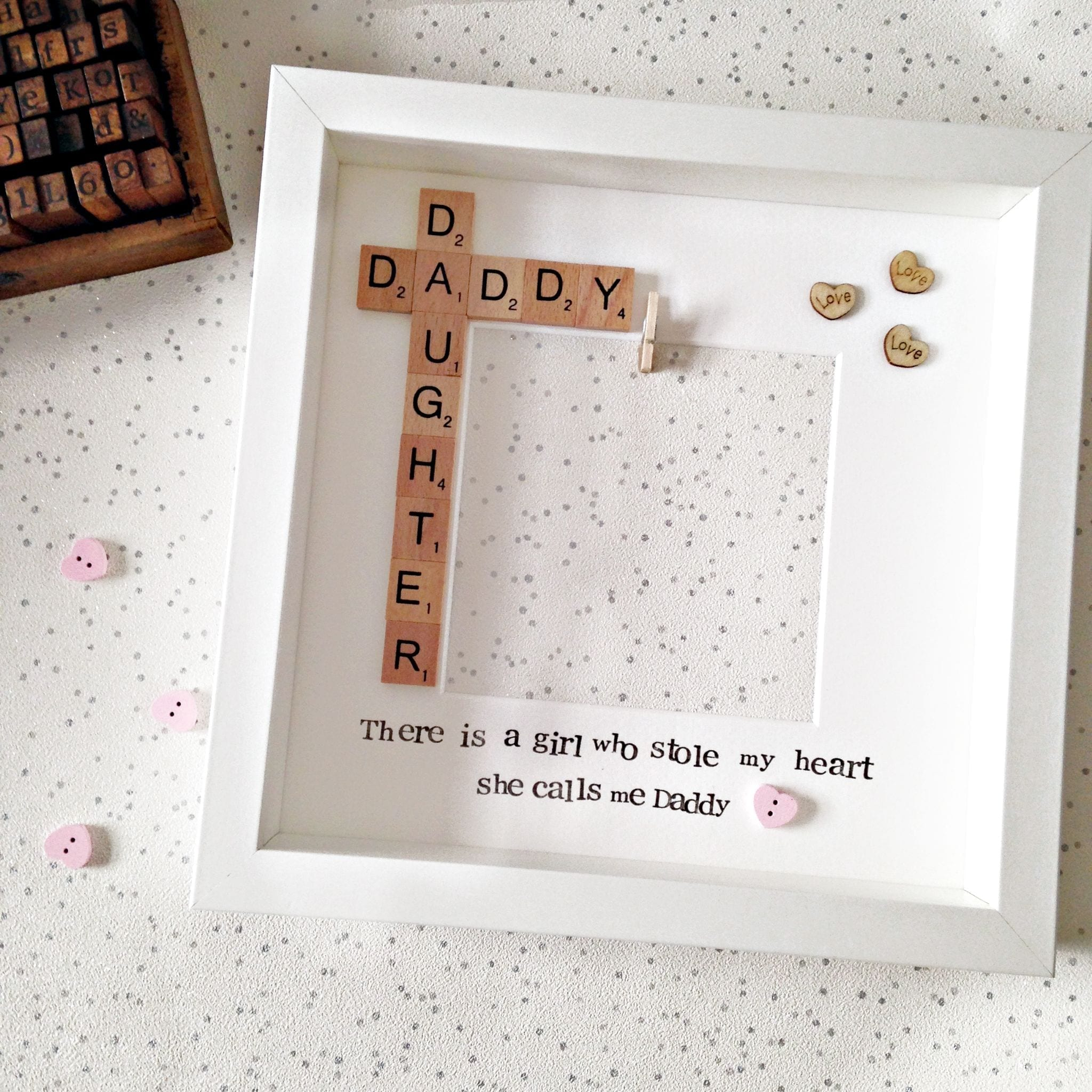 Daddy and Daughter Pink Peg in Photo Frame | Love Unique Personal